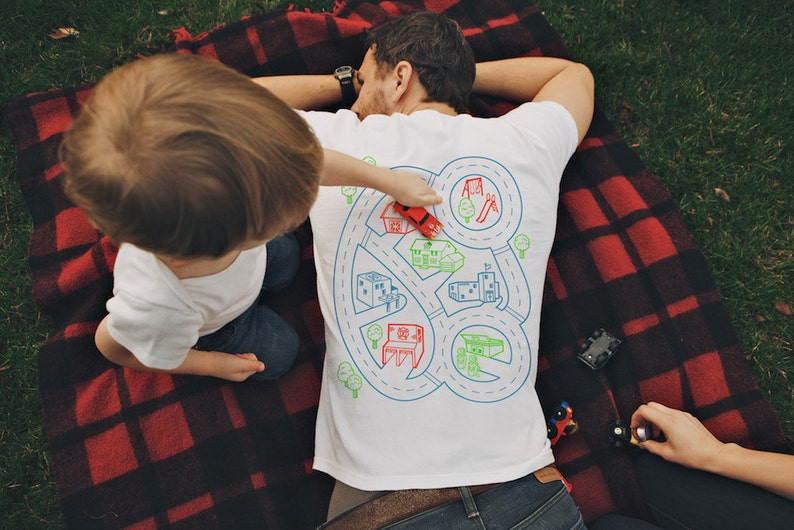 XL Car Play Mat Shirt Daddy Gift from Kids Car Track Shirt image 0