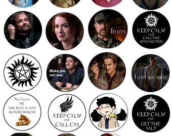 """2 1/4"""" Supernatural pin back button, magnet or keychain . 19 styles to choose from."""