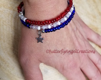 Fourth of July/Red, White, and Blue memory wire bracelet