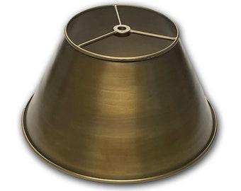 "Lamp Shade - Metal - 12"" Shade - Antique Brass finish - Light Shade - Industrial Shade - Heavy Duty - Quality"