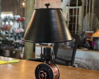"Lamp Shade - Black Metal - 8"" Shade - Antique Copper finish - Light Shade - Industrial Shade - Steel Shade - Table Lamp Shade"