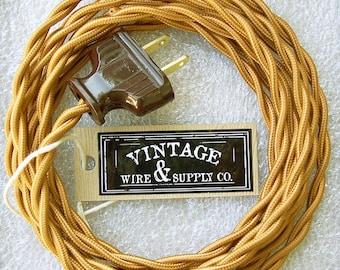 GOLDEN BRONZE - Cloth Covered Wire - 8-ft Cordset - Rewire - Vintage Style Lamp Cord - Antique Fan Restoration