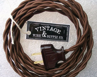 DARK BROWN - Lamp Cord - Cloth Covered Wire - 8-ft Cordset - Rewire - Vintage Style Lamp Wire - Steampunk Lamp - Minimalist  - Edison Lamp