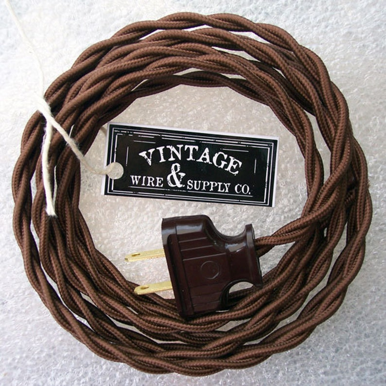 Pleasant Dark Brown Lamp Cord Cloth Covered Wire 8 Ft Cordset Etsy Wiring 101 Cajosaxxcnl