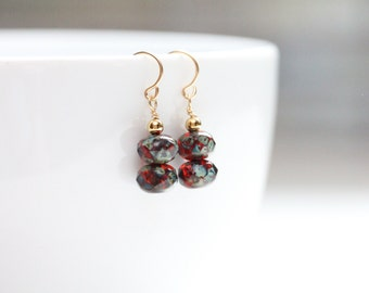 birthday gift small drop earrings / jewelry august birthday / small dangle earrings / deep red earrings