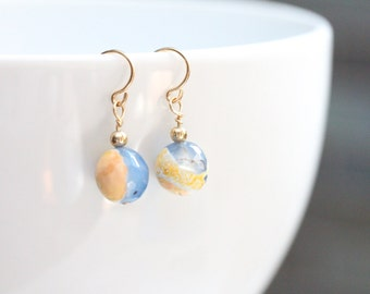 gift for mom / small drop earring / small blue and yellow earrings / mothers day earrings earrings / blue yellow agate gold jewelry