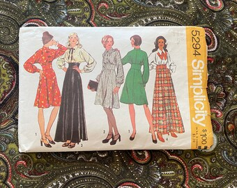 1972 Simplicity 5294 Bust 32.5 Dress in Two lengths Vintage Sewing Pattern