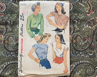 1940s Simplicity 2345 Bust 30 Blouses Vintage Sewing Pattern