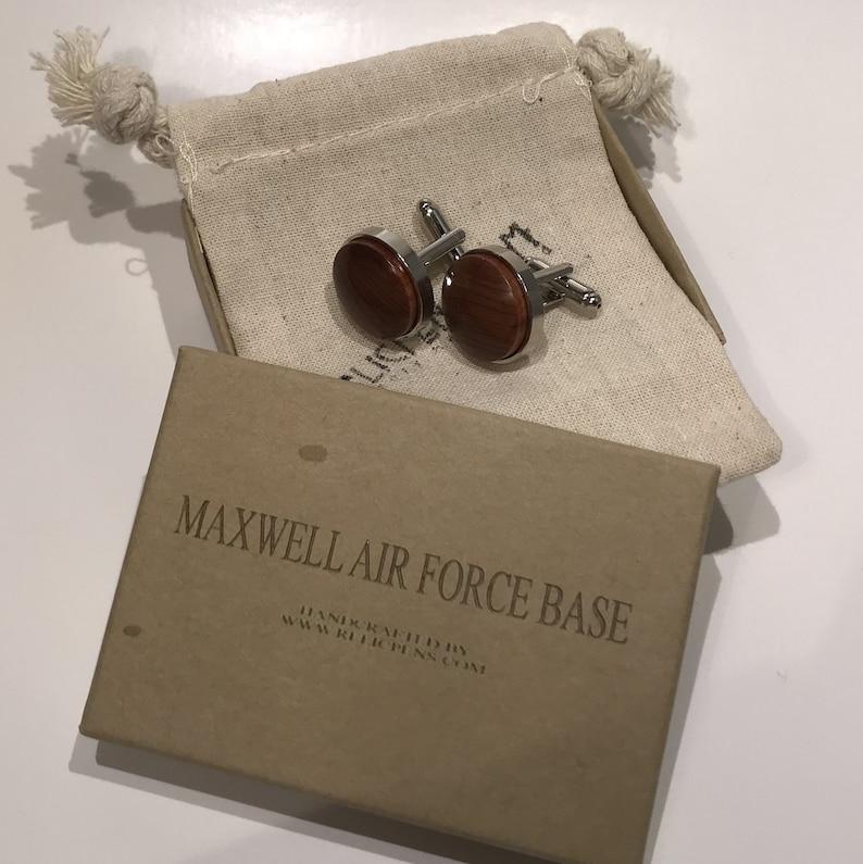Cufflinks made of Red Cedar from Maxwell AFB