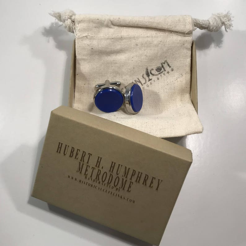 Sports Cuff Links made from a seat removed from the Hubert Humphrey Metrodome