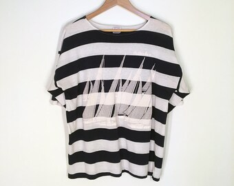 Vintage Navy Blue & White Nautical Stripe Rotterdam Boxy Short Sleeve T-Shirt