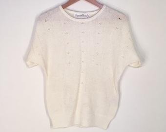 Vintage White Knit Short Sleeve Sweater