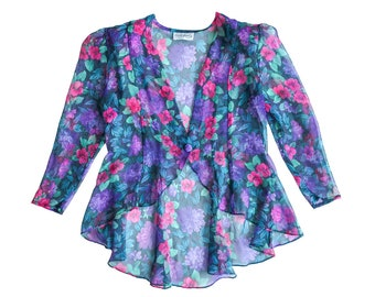 a6a8b13329df Sheer Colorful Floral Peplum Blouse / Vintage Retro 80s 90s / Long Sleeve  Top Shirt Blazer Jacket / Romantic Boho Small Medium Large /