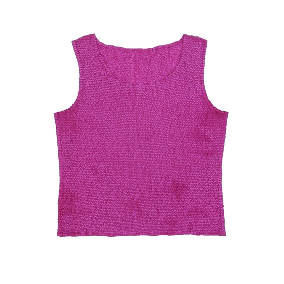 90s Pink Scrunchie Micro Pleat Popcorn Sleeveless