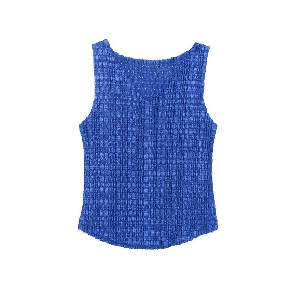 90s Blue Scrunchie Micro Pleat Popcorn Sleeveless