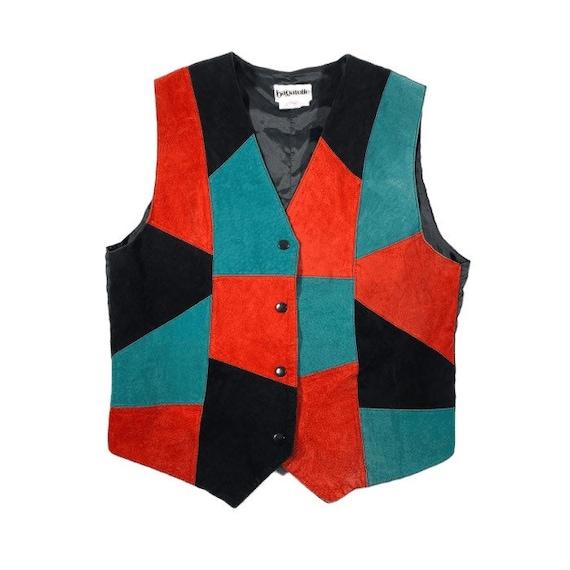 Vintage Patchwork Suede Vest / Leather Snaps 80s 9