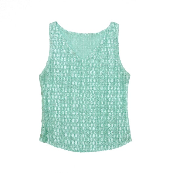 90s Green Scrunchie Micro Pleat Popcorn Sleeveless
