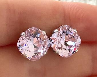 Light Pink Crystal Earrings, Light Pink Rosaline Swarovski Crystal Post Earrings, Pale Pink Swarovski Crystal Stud Earrings