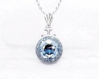 Light Blue Gray Swarovski Crystal Necklace, Crystal Blue Shade Swarovski Crystal Pendant Necklace, Pale Blue Gray Crystal Pendant Necklace