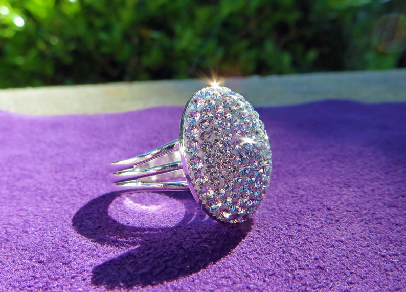 Crystal Clear Swarovski Crystal Statement Ring Crystal Bella image 0
