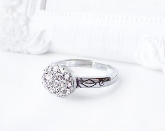 Dainty Swarovski Crystal Ring, Simple Sterling Silver Crystal Clear Swarovski Ring
