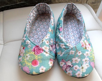 SLIPPERS green Japanese floral T36 of water