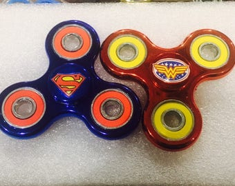Superman or Wonderwoman 3-Way FIdget Spinner-METALLIC **Limited Edition** 608 Bearings