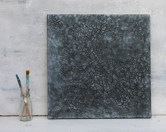 "Abstract painting, black, grey, original painting, mixed media art, wall decor, wall art, unique gift idea, 16x16x0,6"", decor"