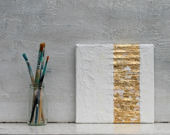 """Gold leaf, white, gold, 8x8 x0,6"""" Abstract painting, original painting, mixed media, abstract art,  white, acrylic painting, Impasto, #gg"""