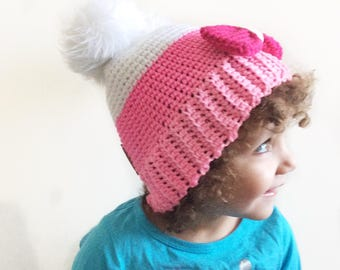 d65d0c45a66 Handmade double pom pom toddler beanie. Two pom pom s Pink Big Bow toddler  hat. Faux fur