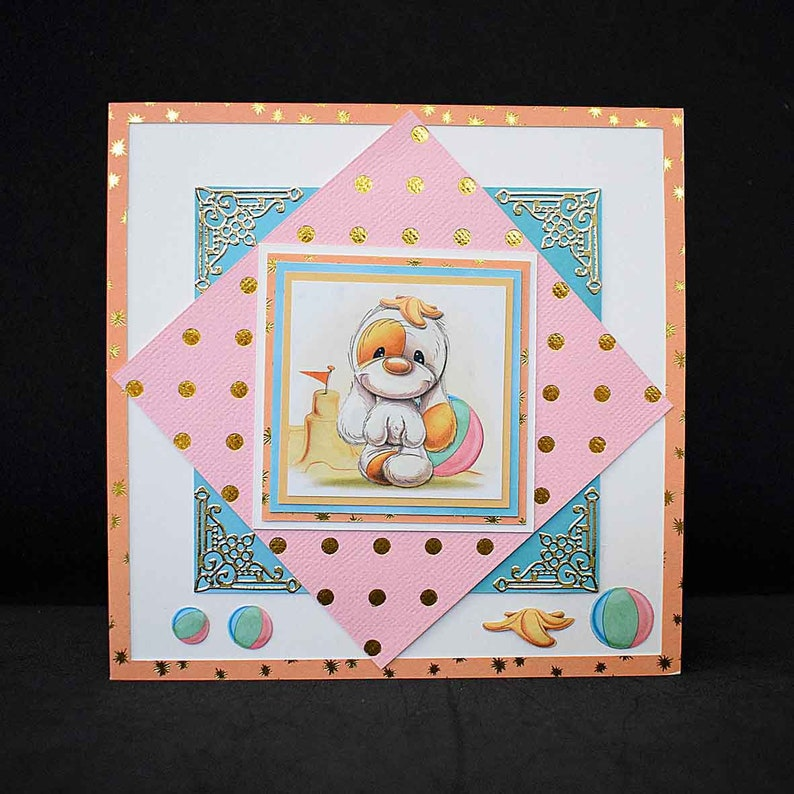Marine map for various occasion in 3D pattern Mylo girl at the beach