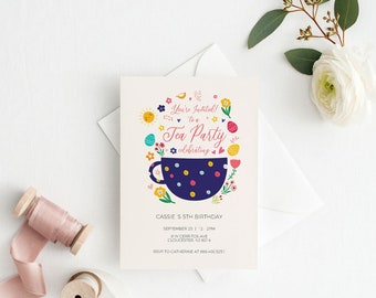 Tea Party Invitation Card Template Childrens Birthday Printable Cheap PDF Instant Download K018