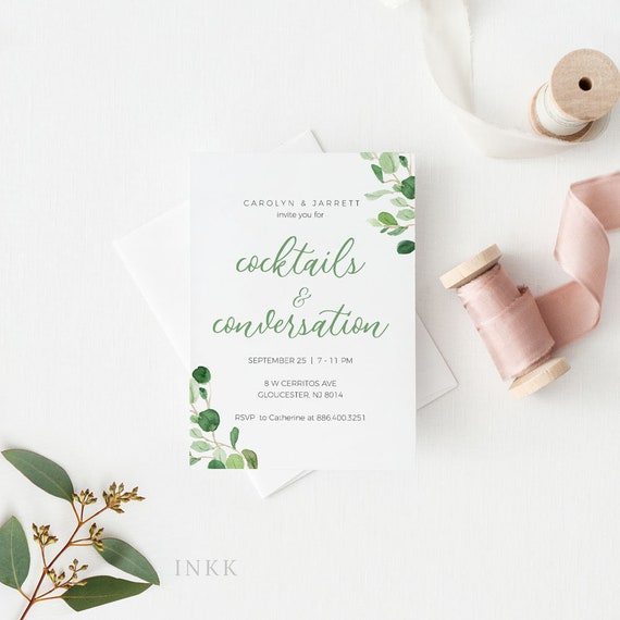 Modern Greenery Cocktail Party Invitation Card Template Birthday Bridal Shower Baby Shower Printable Cocktails Instant Download E055c