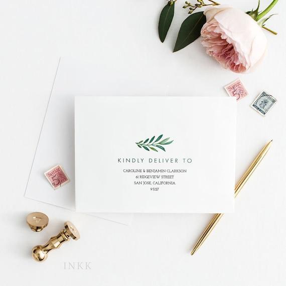 greenery printable envelope template pdf editable envelope etsy