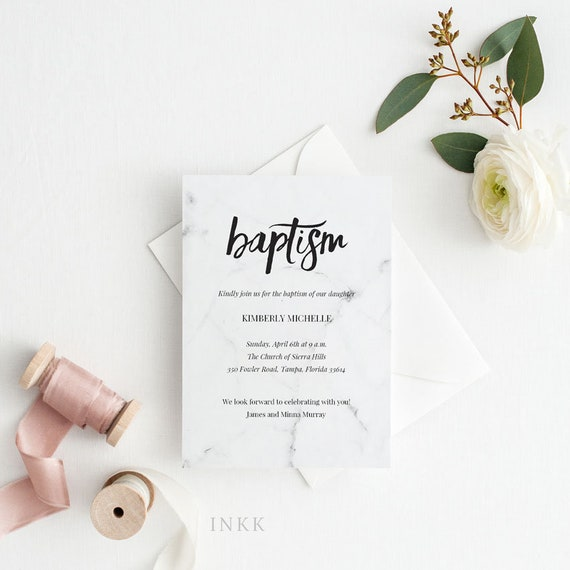 Modern Marble Baptism Invitation Girl Baptism Invitation Boy Etsy