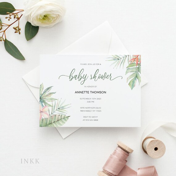 Tropical Baby Shower Invitation Card Baby Shower Invitation Card Printable Template Cheap Invitation Template Pdf Instant Download E052