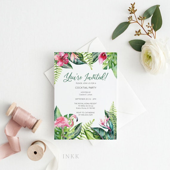 Tropical Party Invitation Card Template Printable Tropical Birthday Invitation Template Bridal Shower Baby Shower Instant Download E054