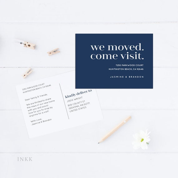 just moved announcement, Printable moving announcement navy and white we have moved card address change announcement new address card