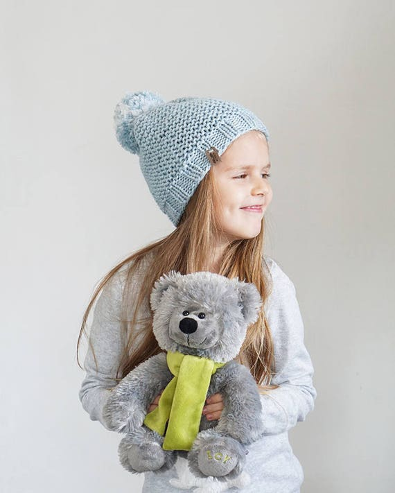 Knit Wool Hat in Baby Blue or Beige Color Toddlers Winter  fb50cc60199