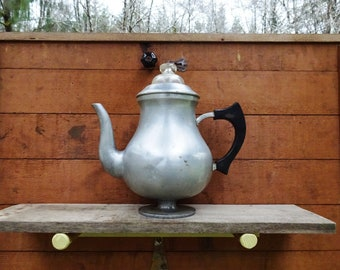 Vintage West Bend Coffee Pot.  Collectible Pewter or Aluminum? Glass Top, Decorative Old Time Farmhouse Coffee Pot, Vintage Kitchenware 704G