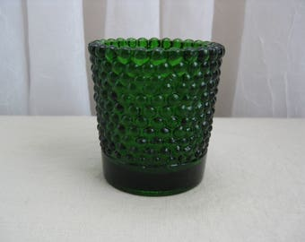 Vintage Mid Century Dark Green Bubble Glass Tea Light Votive Candle Holder