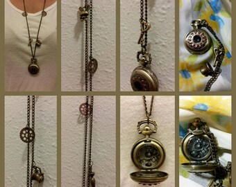 Steampunk Pocket Watch Pendant Necklace
