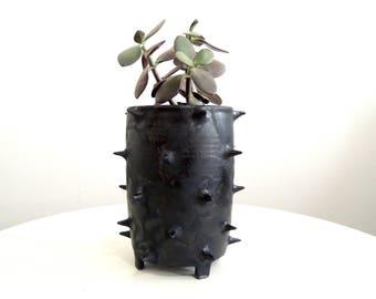 Black spike ceramic planter, tripod planter