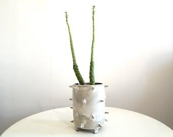 White (oatmeal) spike ceramic planter, tripod planter