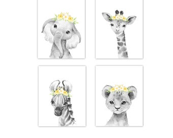 Elephant Giraffe Baby Girl Nursery Wall Art Pink Yellow You Are My Sunshine Safari Jungle Zoo Animals Baby Nursery Decor SET OF 4 UNFRAMED PRINTS