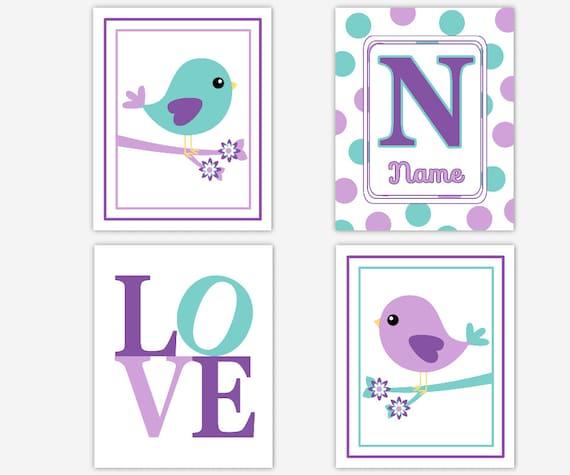 Baby Girl Nursery Wall Art Elephant Purple Teal Aqua Personalized Decor Girl Room 4 UNFRAMED PRINTS
