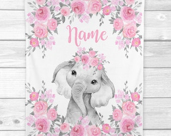 Personalized Baby Girl Blanket Pink Floral Elephant Baby Blanket Newborn Baby Shower Gift Minky Blanket Fleece Blanket Sherpa Baby Blanket
