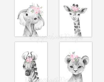 Safari Animals Baby Girl Nursery Wall Art Nursery Canvas Wall Art Decor Pink Floral Elephant Decor Giraffe Art Lion Prints Zebra Prints