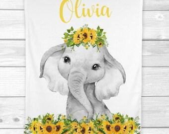 Personalized Baby Girl Blanket Sunflowers Elephant Baby Blanket Newborn Baby Shower Gift Minky Blanket Fleece Blanket Sherpa Baby Blanket