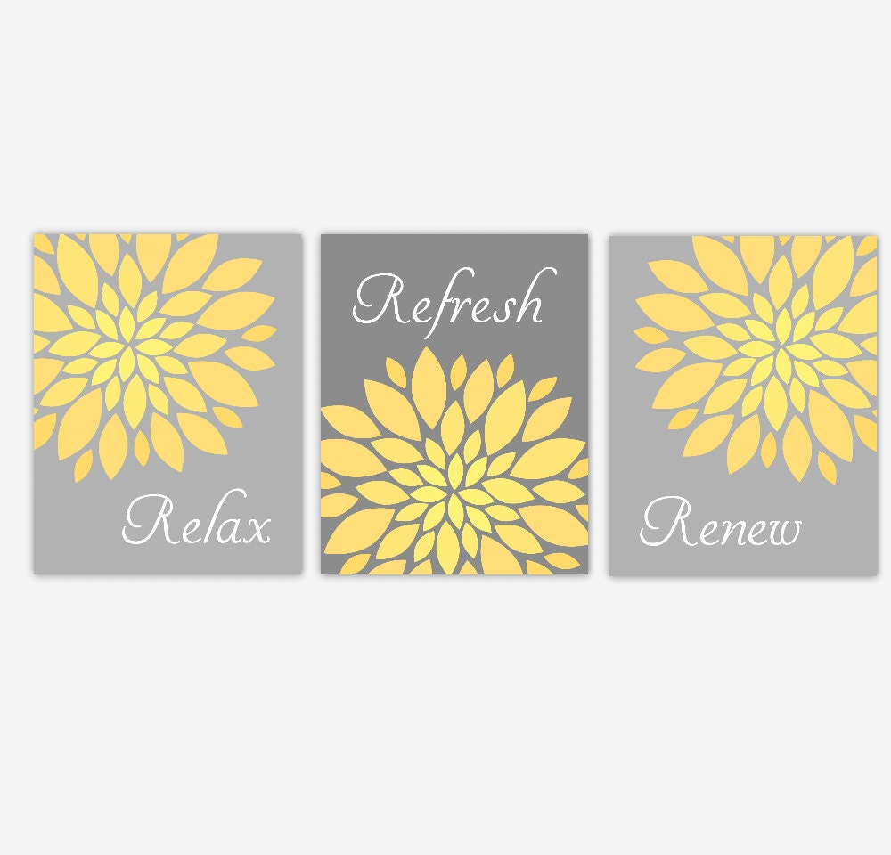Bath Wall Art Yellow Gray Ombre Flower Burst Dahlia Mums | Etsy